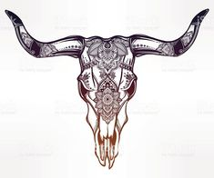 Hand drawn romantic tattoo style ornate decorative desert cow or buffalo skull. Ethnic design, mystic tribal boho symbol for your use.: , click now. Cow Skull Tattoos, Bull Tattoos, Taurus Tattoos, Lace Skull Tattoo, Longhorn Tattoo, Toros Tattoo, Tattoo Crane, Spiritual Tattoo, Tattoo Ideas