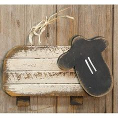 New Primitive Country Folk Art WOOD LATH SHEEP Whitewash Wall Plaque Picture #Country