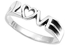 .925 Silver Love Ring Size Width 5mm (SIZE 7) - Silver Ring is Electroplated Womens Rings Size 5, 6, 7, 8, 9 & 10. Commitment Rings for women rings for teens girls. Purity Ring or Anniversary Gifts for her. I Love you Gifts.