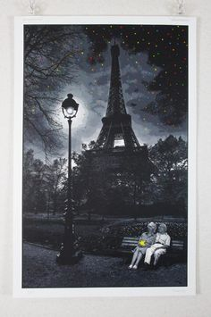 """When You Wish Upon A Star – Paris"" by Roamcouch. 805 x 523mm 15-color Screenprint. Ed of 50 S/N."