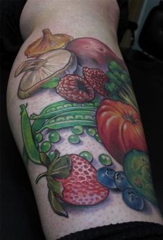 fruits veggies tattoo- I'm not the only one who likes this idea!!!!
