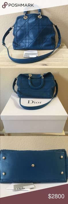 """AUTHENTIC  DIOR GRANVILLE Authentic Dior Granville slouch bag made from blue quilted lamb skin leather. Accented with silver hardware has inside zip pocket. Measurements: 12.5"""" L x 6"""" W x 11.5"""" H made in Italy. There are no signs of wear since it was as worn once. Reasonable offers accepted but please don't send low offers. Comes with original box, dust cover, and authenticity card. I'm am the original owner as it was purchased at Dior in Bellagio. Christian Dior Bags"""