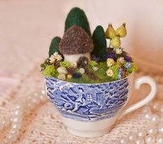 Vintage Liberty Blue Teacup, Needle Felted Miniature English Cottage Garden, Mother's Day Gift, OOAK, Handmade