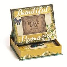 This unique #gift set comes with a #picture #frame box and #photo album, each slathered in gorgeous art. The top of the box doubles as a picture frame and can be displayed when open by setting the edges in the convenient slots. Frame reads Beautiful Mama and features a butterfly, thick painted-style daisies, and lots of dainty details. The included photo album is bound with a leather bow and reads I learned to be brave from my Beautiful Mama. It is vintage-style yellow with a big, beautiful…