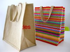 I jazzed up a plain brown grocery tote the other day with a burst of colourful crochet! Here's how, Firstly, purchase a plain tote, available from Coles supermarkets in Australia. Secondly, hook u. Bag Crochet, Crochet Motifs, Crochet Handbags, Crochet Purses, Love Crochet, Crochet Crafts, Crochet Projects, Crochet Patterns, Purse Patterns