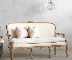 Vintage Louis XV French Style Shabby Gilt Upholstered Settee. FrenchGardenHouse.com