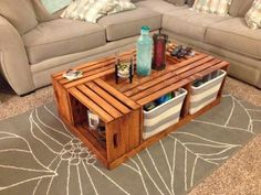Easy DIY Coffee Table Design Ideas 40 - Once you have located the right DIY coffee table plans, completion of your project will take just a few hours. Coffee tables can be created with just . Wine Crate Coffee Table, Diy Coffee Table Plans, Rustic Coffee Tables, Coffee Table Styling, Cool Coffee Tables, Coffee Table Design, Easy Coffee, Coffee Coffee, Coffee Ideas