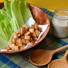 Deconstructed Caesar Salad - Garlic Croutons & Greek Yogurt Caesar Dressing