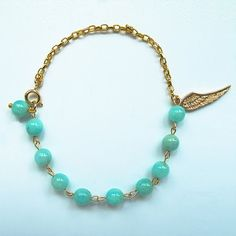 Natural bluish green amazonite, candy color gemstone bracelet with 24 K gold plated wing charm, multi-color available, FREE shipping #christmas #xmas #halloween #highquality #affordable #freeshipping #bead #beads #gem #gems #gemstone #gemstones #jewelry #jewellery #jewelrymaking #jewelrysupplies #jewelrysupply #etsy #farragem #design #designer #handcrafted #handmade #ring #necklace #earrings #bracelet #pendant 24k Gold Jewelry, Jewellery, Unique Jewelry, Ring Necklace, Beaded Necklace, Earrings, Gemstone Bracelets, Candy Colors, Xmas