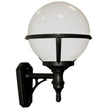 Upward Facing Opal Globe Black Outdoor Wall Light  - each side of garage and for porch