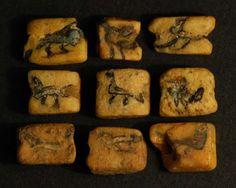 Sasanid (shiraz) Flat mosaic bird beads. 400-600 AD.