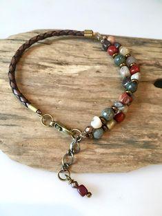 Leather Bracelet Natural Jasper Nugget gems with bloodstone Diy Beaded Bracelets, Diy Bracelets Easy, Handmade Bracelets, Handmade Jewelry, Embroidery Bracelets, Wrap Bracelets, Braided Bracelets, Leather Jewelry, Boho Jewelry