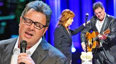 """In this stunningly beautiful performance, Vince Gill pays tribute to George Jones, at his funeral, and breaks down during the solemn concert. Singing """"Go Rest.."""