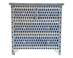 Bone Inlay Furniture - Modern Geometric Hexagon Dresser Sideboard Four 4 Drawers / Credenza | Free Shipping