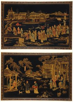 A pair of Chinese lacquer framed pictures, Qianlong, circa 1770 decorated in gilt and polychrome on a black ground, the moulded frames ornamented with flowers, one picture depicting a ceremonial procession, another depicting figures in a palace garden with a junk on a lake in the background Ensuite with the previous Image ( Lot)