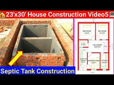 23'x30' House Construction Video5 | Septic Tank construction | #SepticTank | #SepticTankConstruction - YouTube Septic Tank Design, Central Library, Red Rooms, House Plans, Construction, Homes, India, How To Plan, Youtube