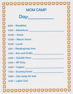 Summer Fun Ideas: Mom Camp Schedule For Kids
