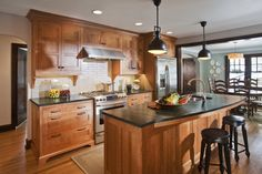 soapstone with wood cabinets | Open Kitchen Concept Idea With Gorgeous Wooden Kitchen Cabinets ...