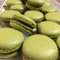 Macha (Green Tea) and Chocolate Macarons. #baking #macha #greentea #chocolate #macaron