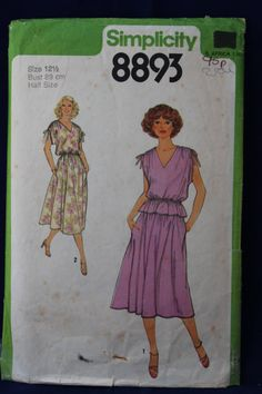 Simplicity 8893 Pullover Dress or Two Piece Dress in Half Sizes - Sewing Patterns