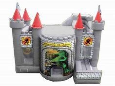 combinado inflable 4 en 1 castillo valiente caballero casa de la despedida, castillo de salto, diapositiva inflable del agua, cursos inflables de los obstáculos para la venta