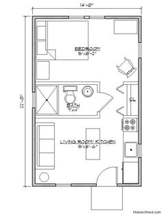 14'x22' Narrow one bedroom, one bath cottage (308 SF) by Historic Shed Nice for mom