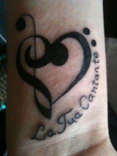 Music note + heart tattoo