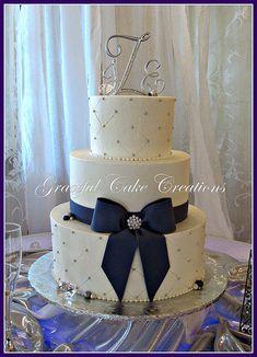 Elegant White and  Navy Wedding Cake