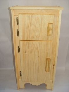Wooden toy Kitchen icebox, refrigerator, fridge crafted by Willow Toys. $180.00, via Etsy.