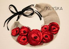 Red fabric poppy flowers on the net Collar necklace/ by Klyska, Red Fabric, Fabric Flowers, Fabric Flower Necklace, Metal Net, Poppy Flowers, Unique Necklaces, Collar Necklace, Cloths, Poppies