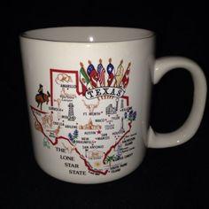 Texas Mug Coffee Cup Map Texan Lone Star State El Paso Dallas Houston Austin