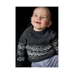 Mønsterstrikket babytrøje - gratis PDF