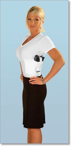 undershirt with gun holster....if I were to ever carry, there is no where to carry on a woman without it being seen...