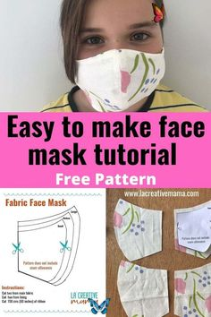 How to make a face mask tutorial  <br> Learn how to make your own fabric face mask using materials you have at home. Easy and quick step by step tutorial. Great for beginner and advanced sewers. Sewing Patterns Free, Free Sewing, Free Pattern, Fabric Patterns, Pattern Sewing, Pocket Pattern, Skirt Patterns, Coat Patterns, Pattern Drafting