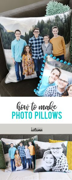 How to make gorgeous personalized photo pillows - It's Always Autumn How To Make Pillows, Diy Pillows, Custom Pillows, Pillow Ideas, Decorative Pillows, Cushions, Mason Jar Crafts, Mason Jar Diy, Photo Craft