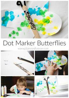 Dot Marker Butterflies craft. Simple & fun art project for toddlers & preschoolers.