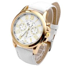 * Penny Deals * - Hemlock Fashional Round Roman Numerals Women's Watch White PU Leather Band Gold Watches >>> Check out the image by visiting the link.