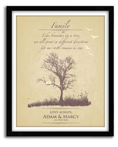 Family Tree, Custom Home Print, Thank you wedding gift for parents of bride and groom, Future in laws Custom 8x10 Print