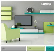 """Gris y Verde Aguacate en combinación con verde-azul """"kinder"""" por Comex (R)"""