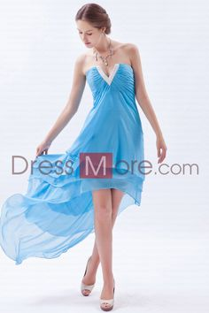 a257efba41c Buy new high low v neck ruched baby blue dama dress with beading from cheap  dama dresses collection