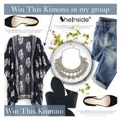 """""""Navy Loose Kimono with Sheinside (Contest in my group, link under the description)"""" by antemore-765 ❤ liked on Polyvore"""