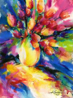 Tulips ... Canvas Art Print . Original by KathyMortonStanion