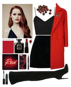 """""""Cheryl Blossom """"cherrybomb"""""""" by natalyaparf-1 ❤ liked on Polyvore featuring Topshop, Jaeger, Gianvito Rossi, OBEY Clothing, Chanel, Illamasqua, Michael Kors, Seletti, Stila and Bling Jewelry"""