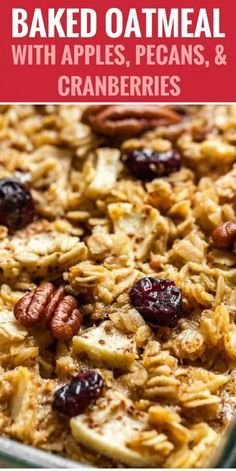 Baked Oatmeal made with apples, pecans, and cranberries is a delicious and comforting breakfast casserole! Baked Oatmeal made with apples, pecans, and cranberries is a delicious and comforting breakfast casserole! Baked Apple Oatmeal, Baked Oatmeal Recipes, Apple Recipes, Healthy Baked Oatmeal, Baked Oatmeal Casserole, Amish Baked Oatmeal, Fruit Recipes, Rice Recipes, Snack Recipes