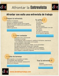 Cómo afrontar con éxito una entrevista de trabajo vía: www.dondehaytrabajo.com #infografia #infographic #MUN2empleo