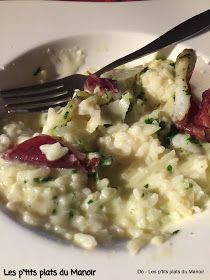 Les p'tits plats du Manoir: Risotto crémeux aux couteaux et copeaux de jambon et parmesan