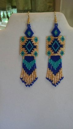 Native American Style Beaded Rug Earrings Turquoise Gold and Dark Blue Southwestern, Boho, Peyote, B- Etsy- Beaded Earrings Patterns, Jewelry Patterns, Beading Patterns, Crochet Earrings, Jewelry Ideas, Brick Stitch Earrings, Seed Bead Earrings, Hoop Earrings, Native American Beading