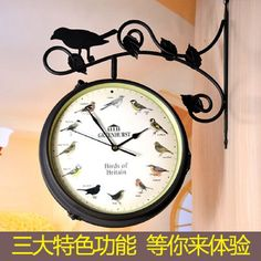 Double-sided Clock Saat Digital Wall Clock Reloj Duvar Saati Horloge Murale Klok Orologio da parete Wall Watch metal Home decor China Wall, Wall Watch, Metal Birds, Time Clock, Digital Wall, Metal Homes, Vintage Birds, Decoration, Outdoor Gardens