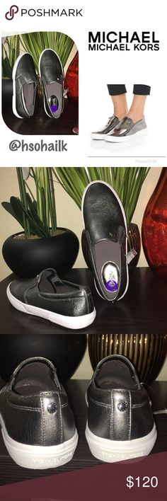 Authentic MMK gray slip on sneakers Brand new authentic Michael Michael Kors gray slip on sneakers. Says size 8.5 but 8 size person can wear it also. MICHAEL Michael Kors Shoes Sneakers