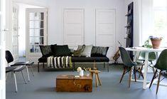 Gorgeous marmoleum floor and a modern chic living room design! Style At Home, Linoleum Flooring, Flooring Options, Floor Design, Basement Remodeling, Home Collections, Living Room Designs, Sweet Home, Shabby Chic